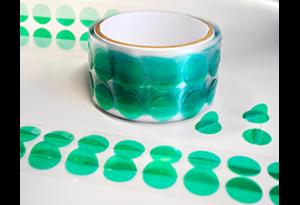 Polyester Klebepunkte grün mit Griff